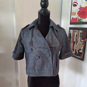 Denim double breasted swing coat